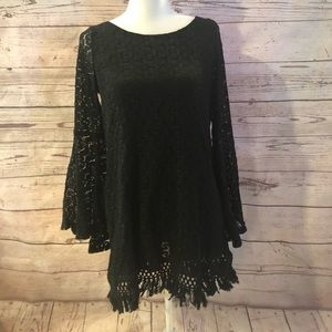 Crochet boho dress with bell sleeves